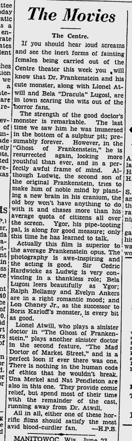 The Ghost of Frankenstein, Ottawa Citizen, June 24, 1942