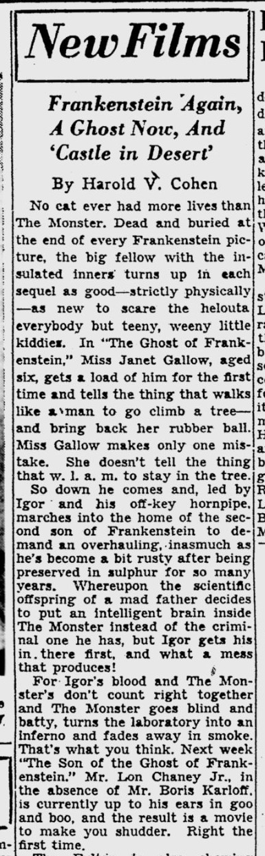 The Ghost of Frankenstein, Pittsburgh Post-Gazette - Mar 26, 1942b