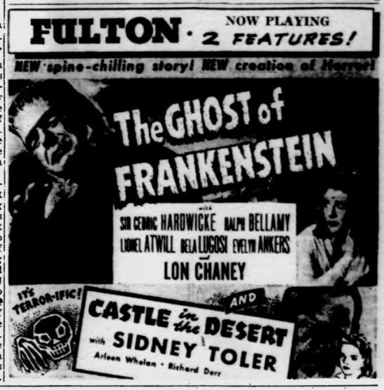 The Ghost of Frankenstein, Pittsburgh Post-Gazette, March 26, 1942a