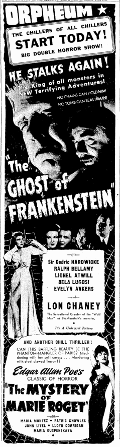 The Ghost of Frankenstein, Seattle Daily Times, June 11, 1942