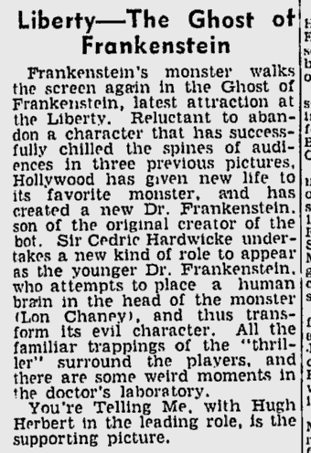 The Ghost of Frankenstein, The Age, December 28, 1942