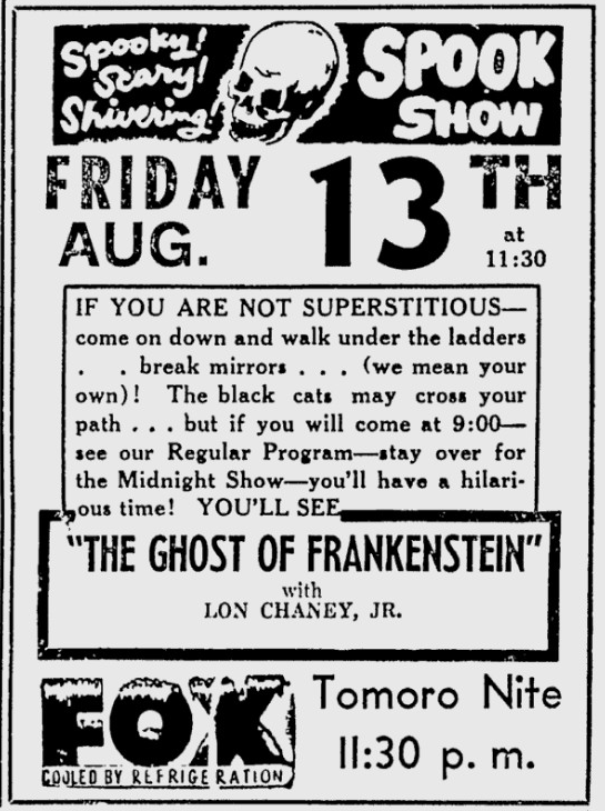 The Ghost of Frankenstein, The Fort Scott Tribune, August 12, 1954
