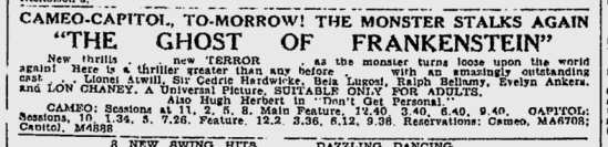 The Ghost of Frankenstein, The Sydney Morning Herald, July 24, 1942