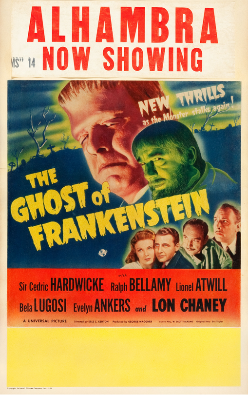 The Ghost of Frankenstein Window Card