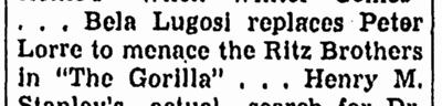 The Gorilla, Canton Repository, February 27, 1939