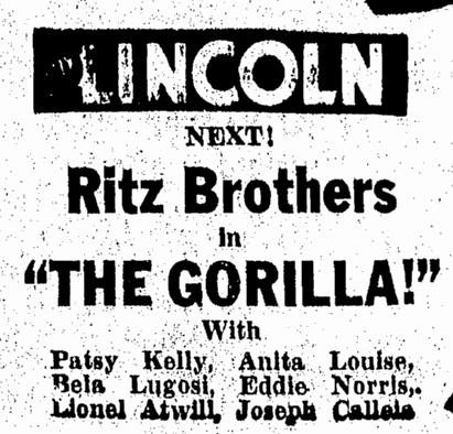 The Gorilla, Daily Illinois State Journal, May 19, 1939