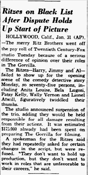 The Gorilla, Dallas Morning News , February 1. 1939