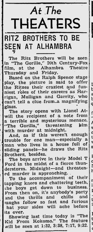 The Gorilla, Kentucky New Era, July 20, 1939