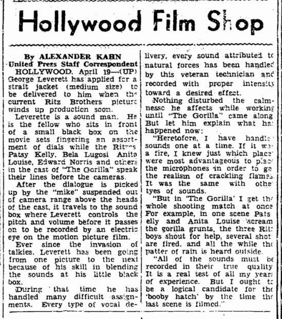 The Gorilla, Marietta Journal, April 19, 1939