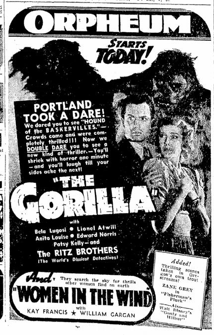 The Gorilla, Oregonian, May 29, 1939