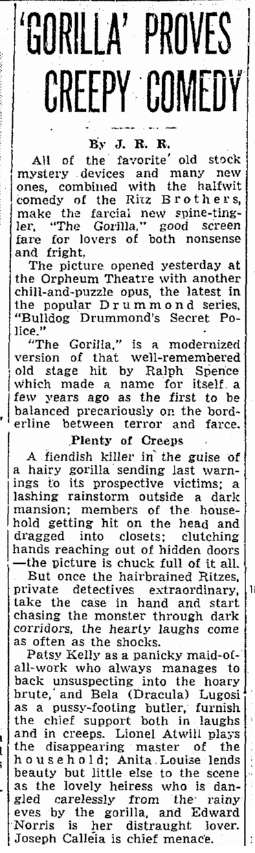 The Gorilla, Seattle Daily Times , May 24, 1939