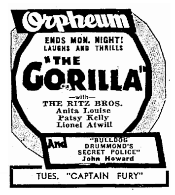 The Gorilla, Seattle Daily Times , May 27, 1939