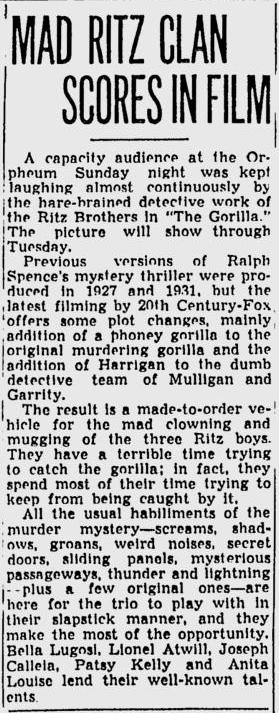 The Gorilla, Spokane Daily Chronicle, June 5 1939