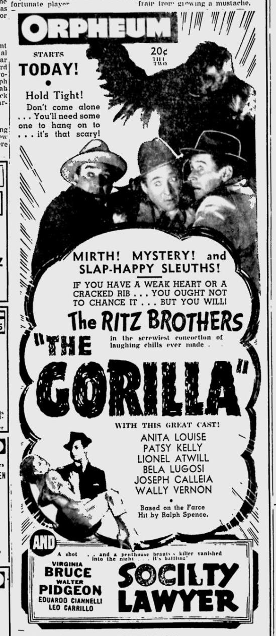 The Gorilla Spokane Daily Chronicle, May 3 1939