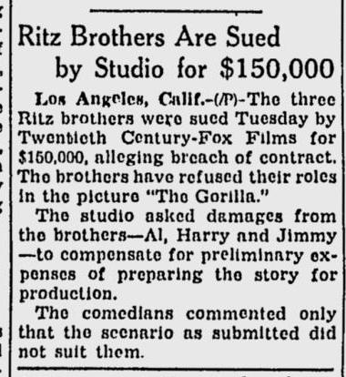 The Gorilla, The Milwaukee Journal, February 1, 1939
