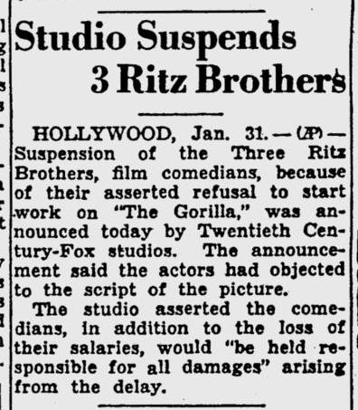 The Gorilla, The Pitsburgh Post-Gazette, February 1, 1939