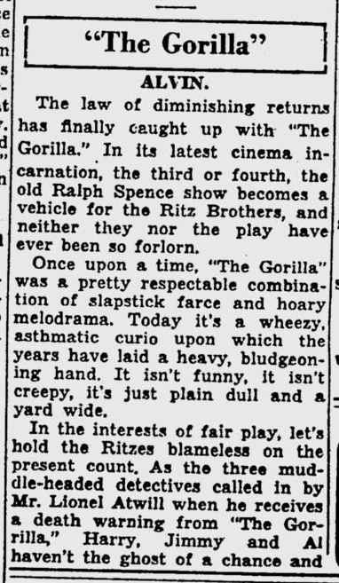 The Gorilla, The Pitsburgh Post-Gazette, May 18, 1939 2