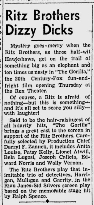 The Gorilla, The Register-Guard, October 8, 1939