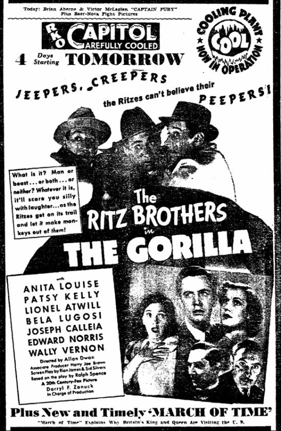 The Gorilla, Trenton Evening Times, June 8, 1939