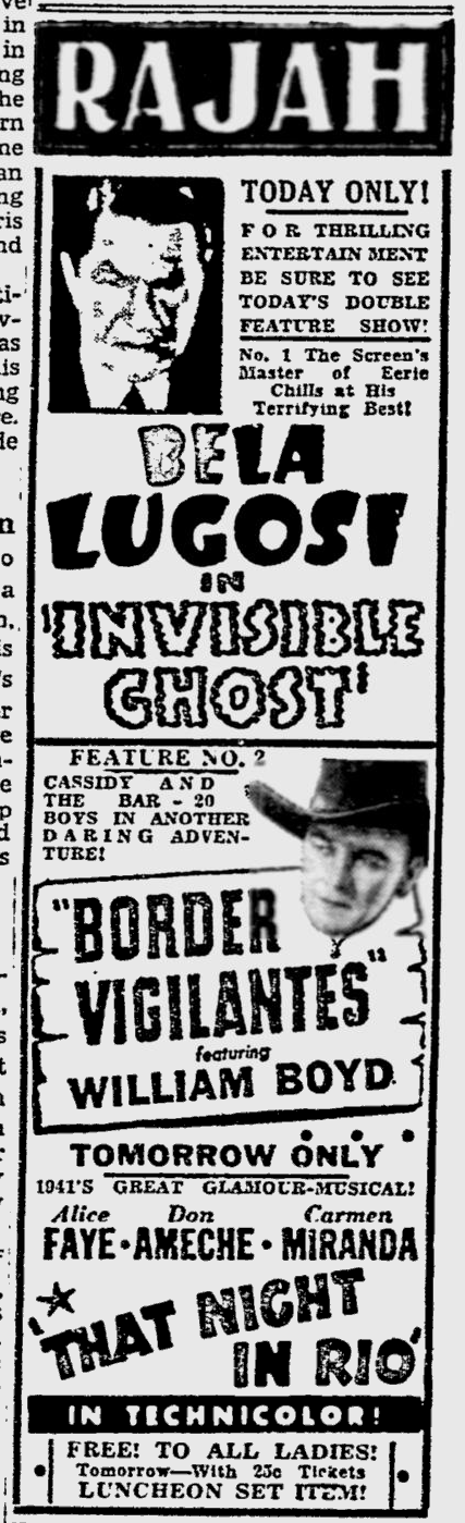 The Invisible Ghost, Reading Eagle, June 29, 1941