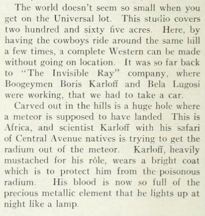 The Invisible Ray, Photoplay, January, 1936