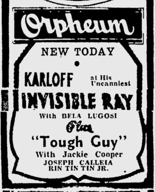 The Invisible Ray, Spokane Daily Chronicle, March 6, 1936