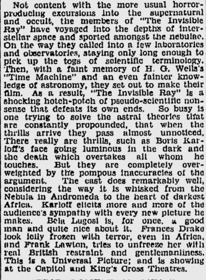 The Invisible Ray, Sydney Morning Herald, June 6, 1936