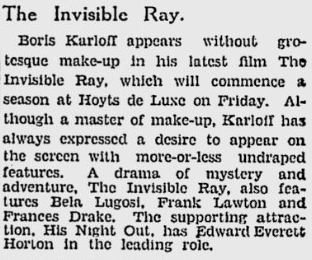 The Invisible Ray, The Age, March 25, 1936