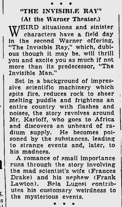 The Invisible Ray, The Milwaukee Sentinel, January 18, 1936