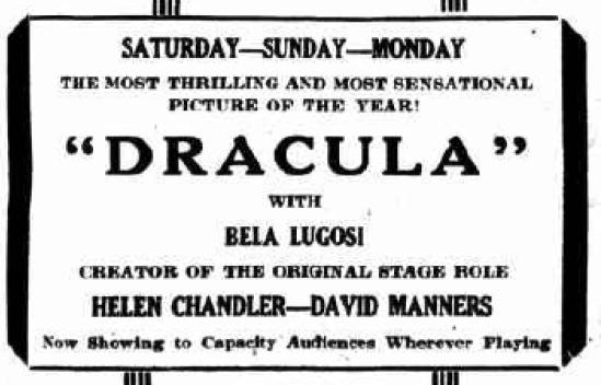 Dracula, The Kingston Daily Freeman, February 26, 1931