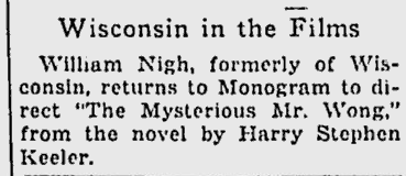 The Mysterious Mr Wong, The Milwaukee Journal, October 14, 1934