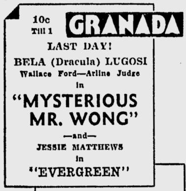 The Mysterious Mr Wong, The Spokane Daily Chronicle, April 1, 1935