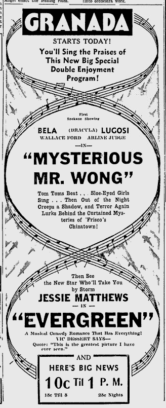 The Mysterious Mr Wong, The Spokane Daily Chronicle, March 29, 1935