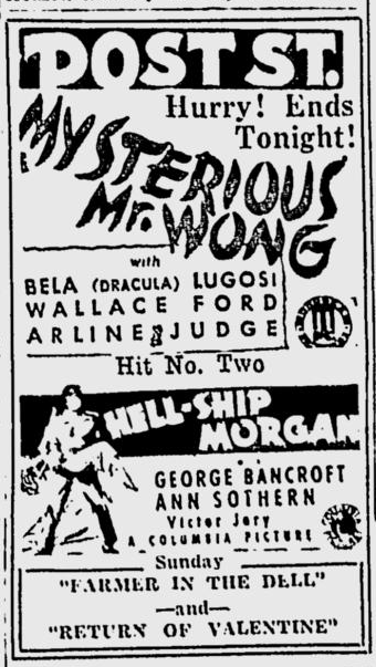 The Mysterious Mr Wong, The Spokesman Review, August 1. 1935
