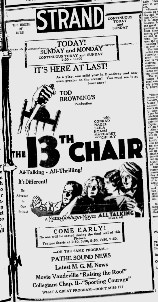 The 13th Chair, The Owosso Argus-Press, November 9, 1929