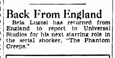 The Phantom Creeps, Evening Star, June 2, 1939