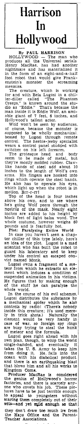 The Phantom Creeps, Heraldo de Brownsville, May 23, 1939