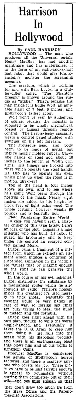The Phantom Creeps, Heraldo de Brownsville, May 23, 1939