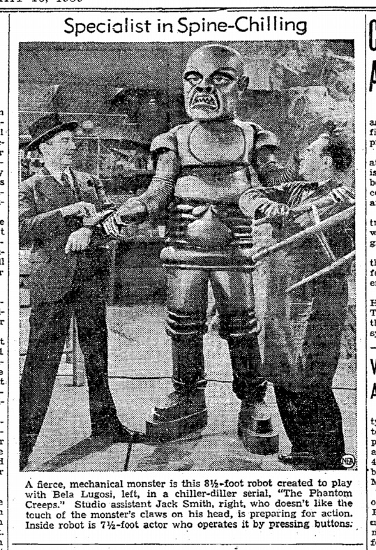 The Phantom Creeps, Riverside Daily Press, May 16, 1939