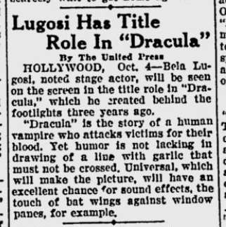 Dracula The Portsmouth Sunday Times, October 5, 1930