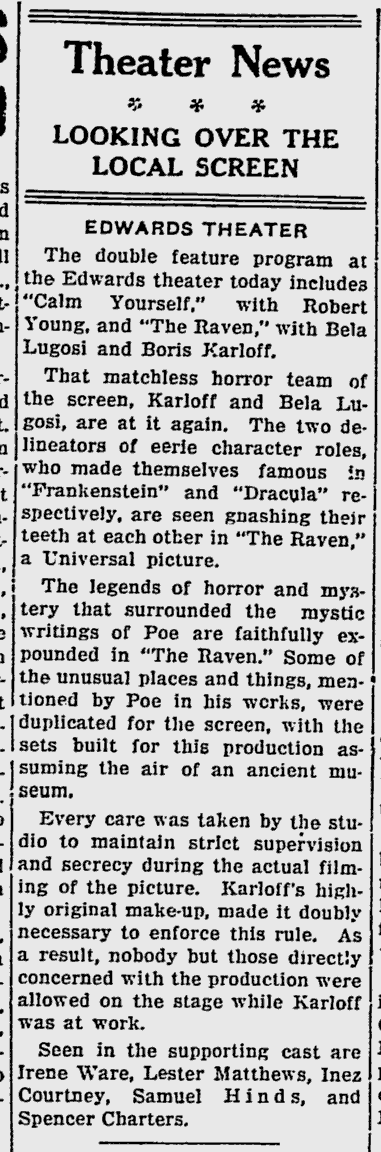 The Raven, Sarasota, Herald-Tribune, July 11, 1935