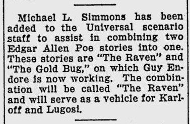 The Raven, The Evening Independent, September 29, 1934