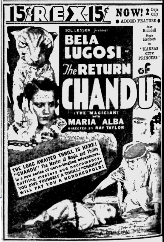 The Return of Chandu, Eugene Register-Guard, December 28, 1934 1