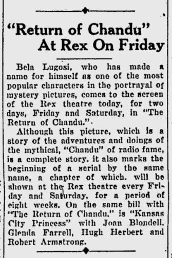 The Return of Chandu, Eugene Register-Guard, December 28, 1934 2