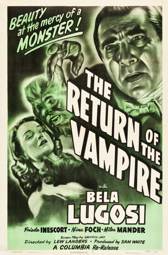 The Return of the Vampire 1948 Re-release one sheet