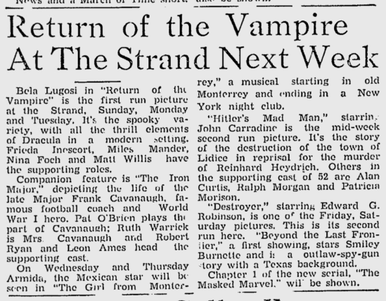 The Return of The Vampire, Lewiston Evening Journal, December 18, 1943