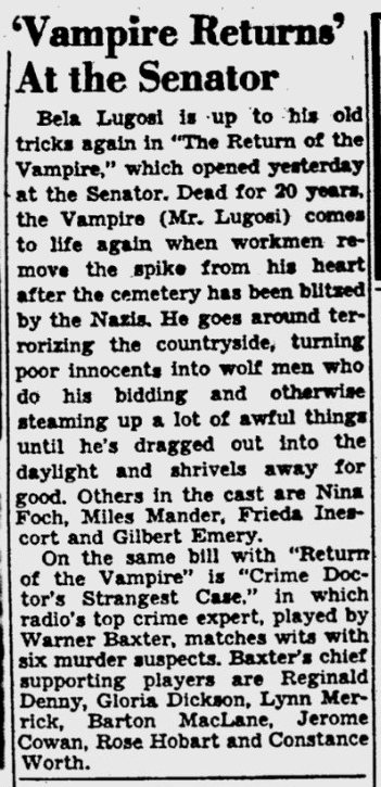The Return of The Vampire, Pittsburgh Post-Gazette, January 20, 1944