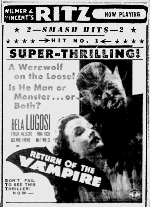 The Return of The Vampire, Reading Eagle, February 13, 1944 b