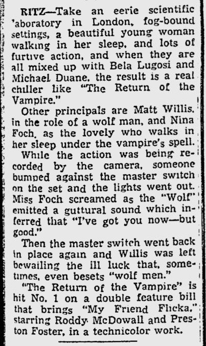 The Return of The Vampire, Reading Eagle, February 13, 1944