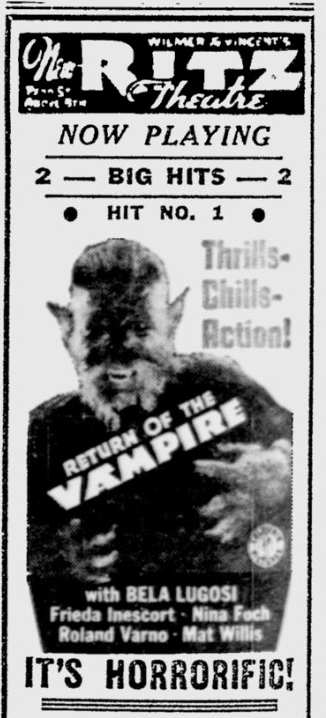 The Return of The Vampire, Reading Eagle, February 14, 1944